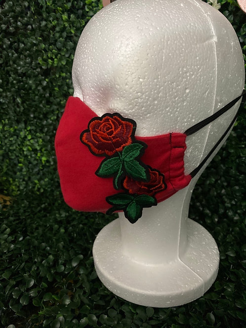 Red Mask w/ Roses Patch