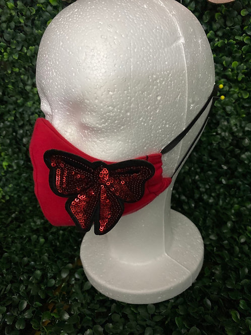 Red Mask w/ Small Bow Patch