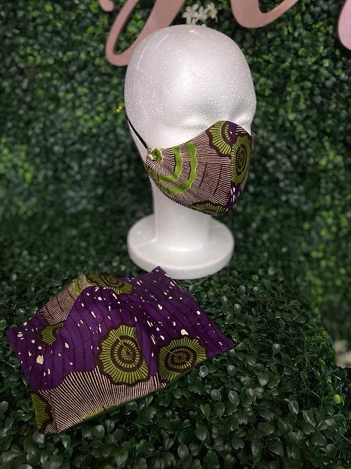 Purple and Green Ankara Fabric Mask