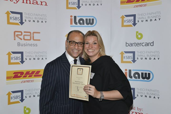 Marika Rauscher - official photo receiving #SBS Award Certificate from Theo Paphitis (2013)