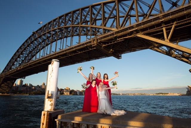 Bride, Bridesmaids, Bridge