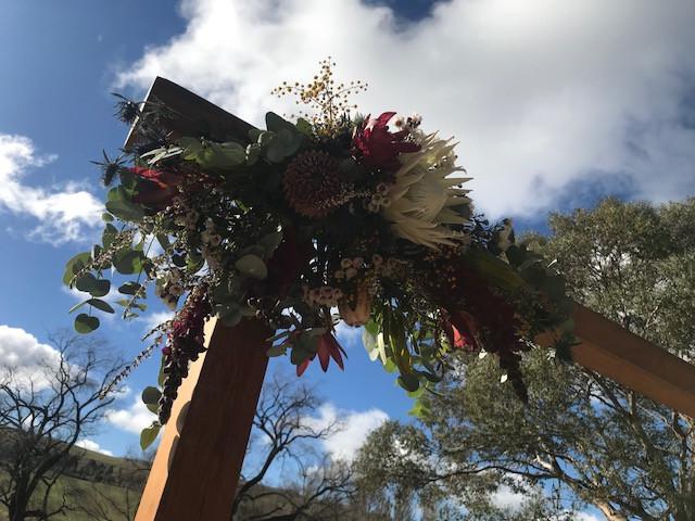 Floral Arrangement on a Wooden Arch