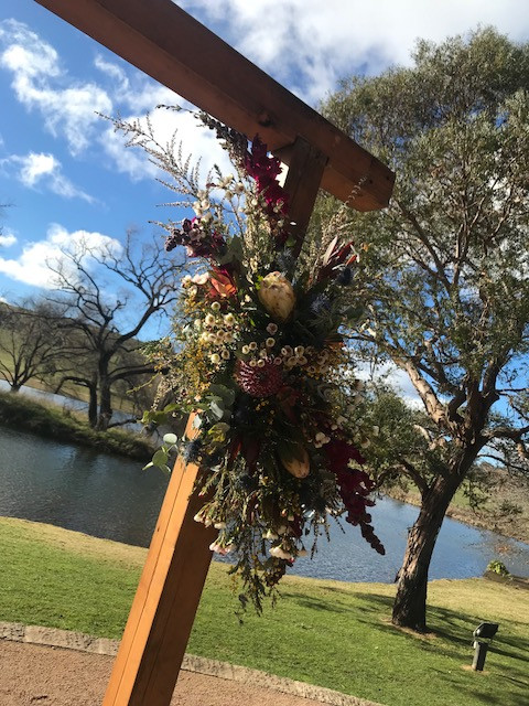 Flowers on a Wooden Arch
