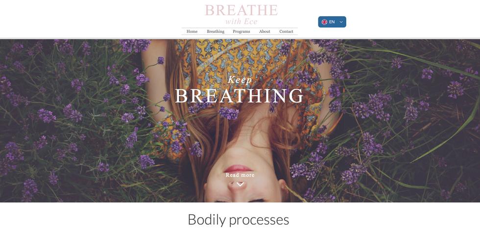 Website creatie en ontwikkeling www.breathewithece.com