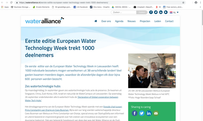 Wateralliance webpage October 2018