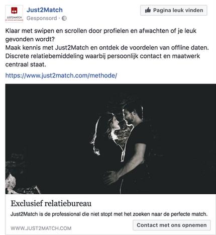 Facebook campaign Just2Match