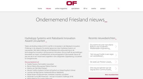 Article 'Ondernemend Friesland' April 2019