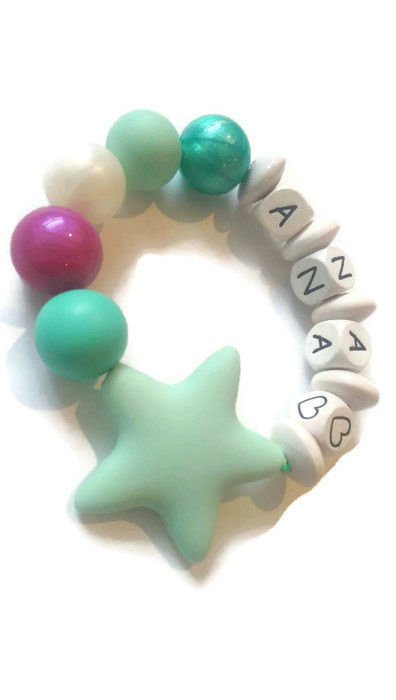Mint Star Personalized Bracelet Teething Necklaces Sensory Bracelets