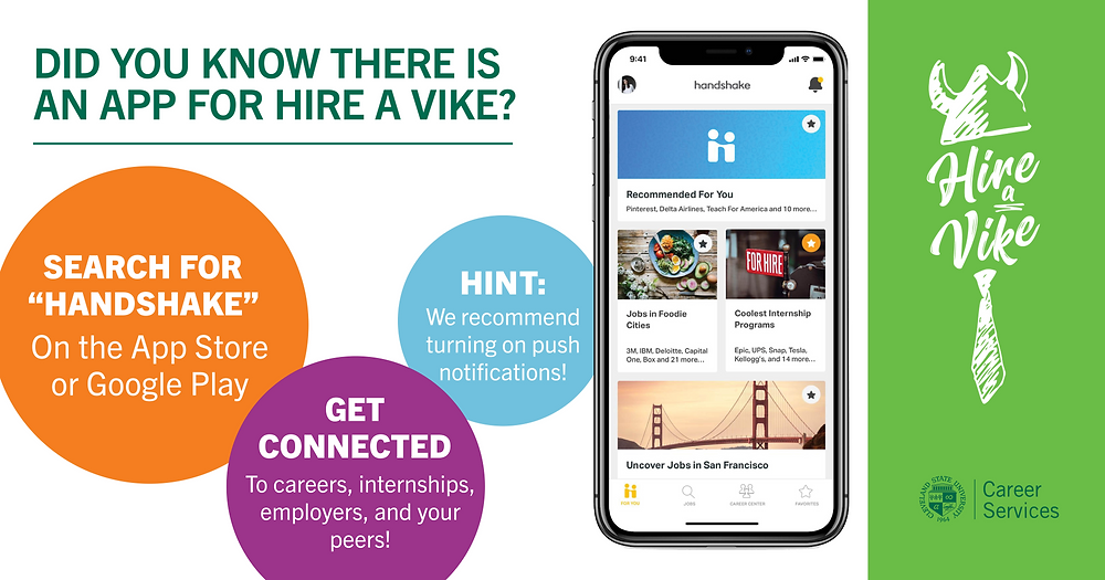 Hire A Vike App image: Download from the app store. Connect to careers, internships, employers, and peers. Turn on push notifications.