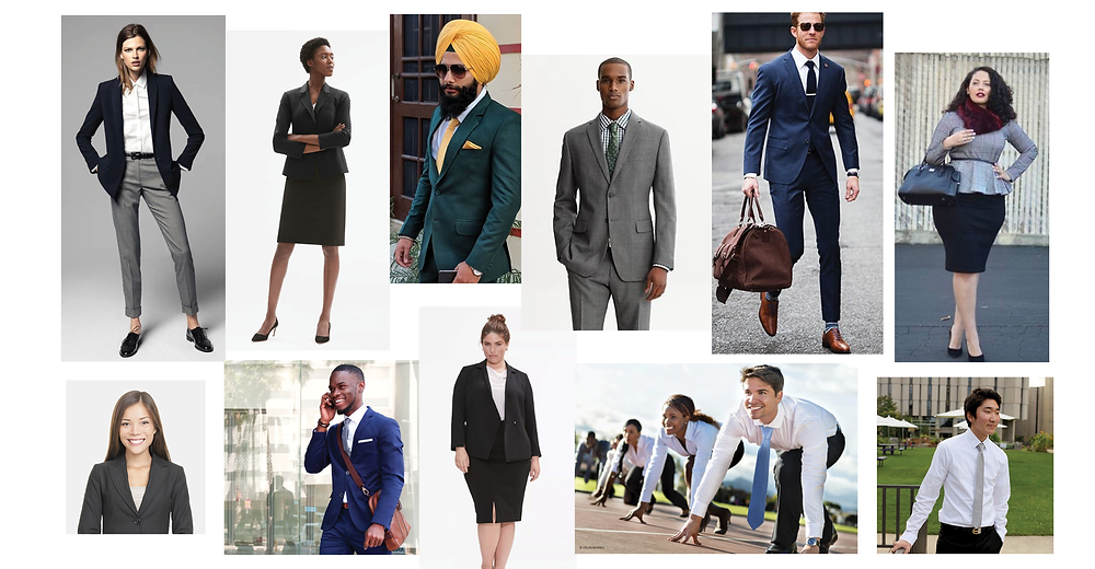 Collage of people wearing formal business attire