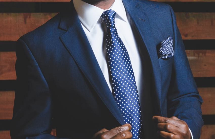 Person in a blue business suit
