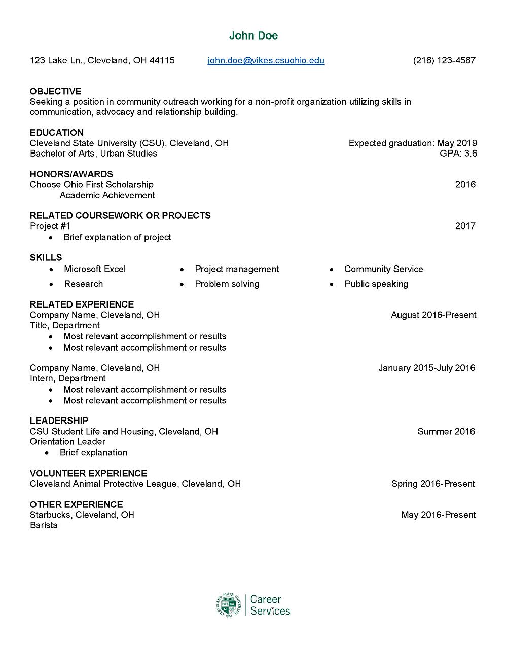 John Doe Resume template page one.