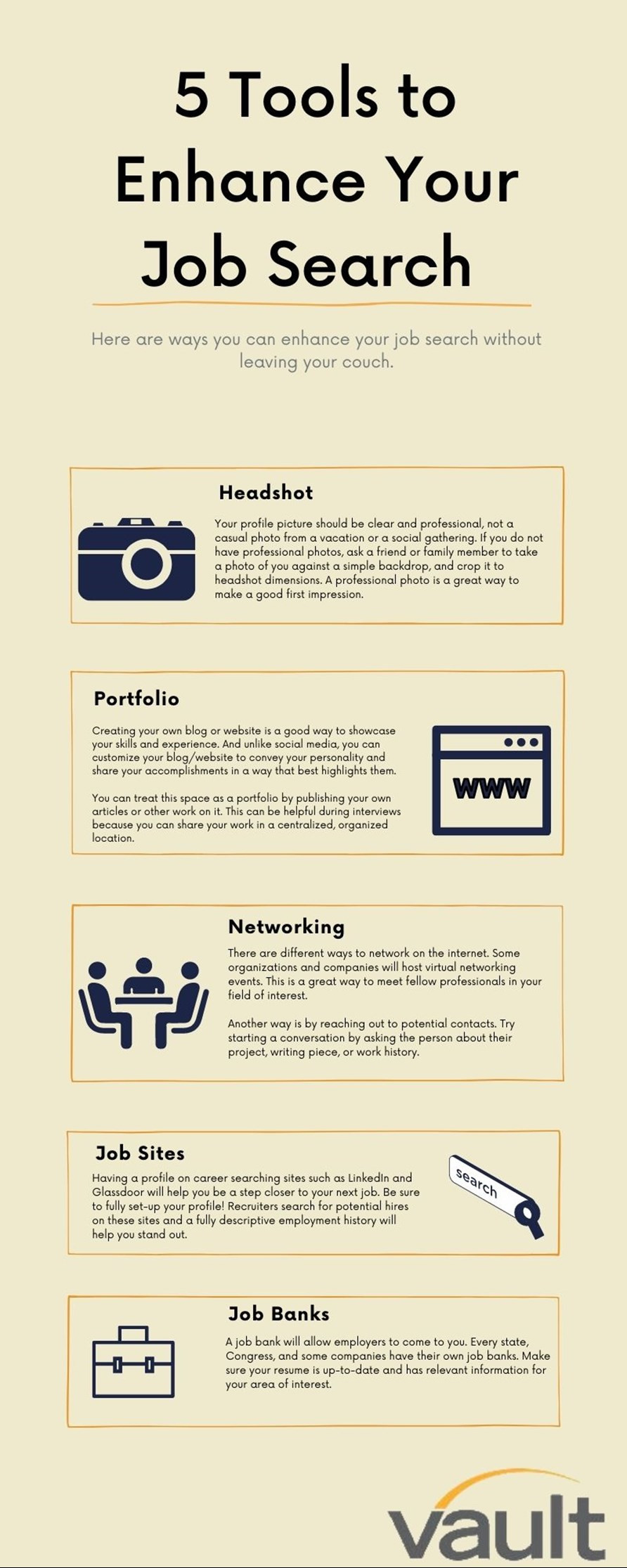Infographic detailing 5 tools to enhance your job search