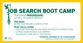 Resources for Job Search Boot Camp: Resumes & Cover Letters on 10/15
