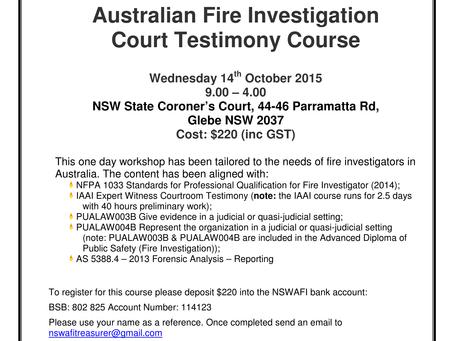 2015 Court Testimony Training Course