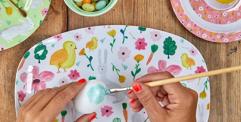 Rice - Rechteckige Melamin Platte Easter Print