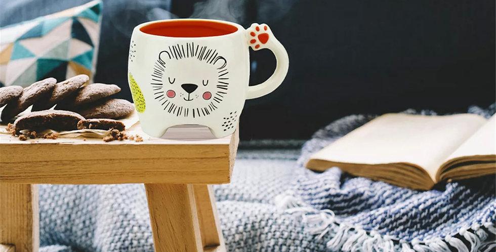 Kaffebecher Keramik Löwe