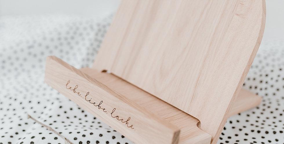 Eulenschnitt - Buchständer Lebe Liebe Lache aus Eiche