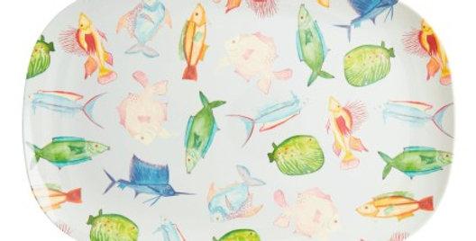 RICE - Rechteckige Melamin Platte Fische