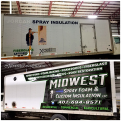 Before and After Box Truck Wrap for Midwest Spray Foam