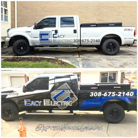 Before and After Truck Wrap for Cacy Electric