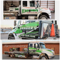 Before and After of Tow Truck Wrap for Kramer's