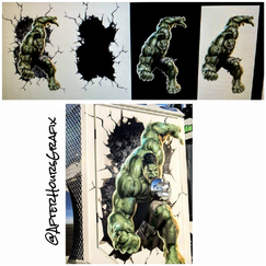 Process of redrawing a Hulk graphic for a project