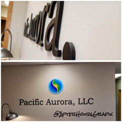 Off-Set Letter Sign for Pacific Aurora