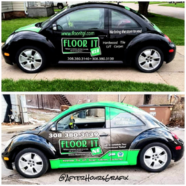 Before and After of Floor It NE Bug Wrap