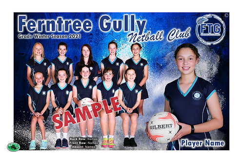 Ferntree Gully Netball Team Photo With Individual Player Portrait