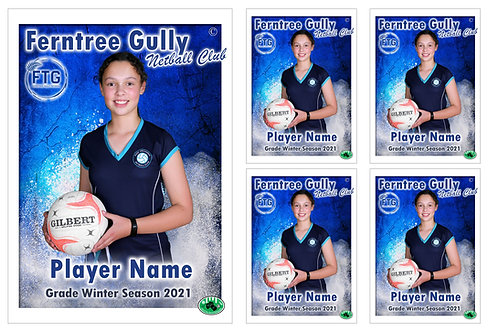 Ferntree Gully Netball Player Portrait – 5 in 1 Pack