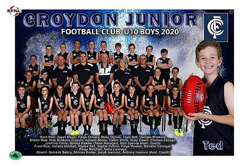 Croydon Football Team Photo With Individual Player Portrait