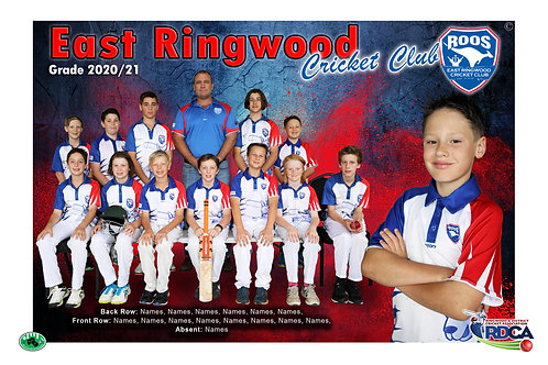 East Ringwood Cricket Team Photo With Individual Player Portrait