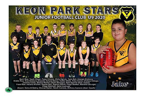 Keon Park Football Club Team Photo With Individual Player Portrait