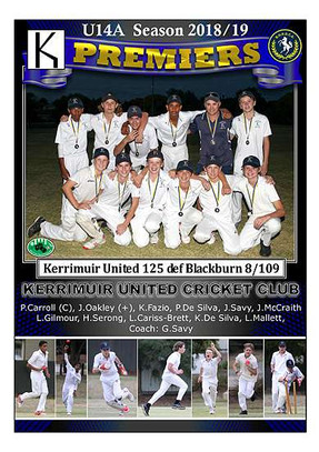 Kerrimuir United U14 Premiers in border-