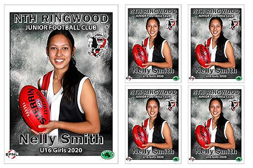 North Ringwood Football Club Player Portrait – 5 in 1 Pack