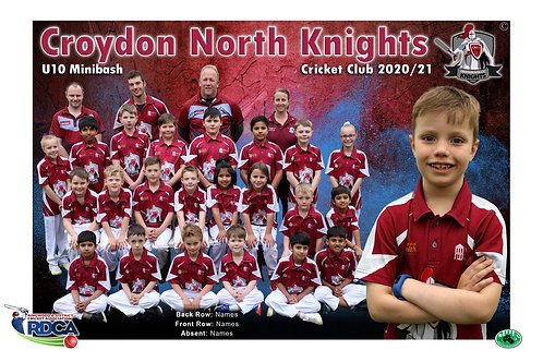 Croydon Nth Cricket Team Photo With Individual Player Portrait