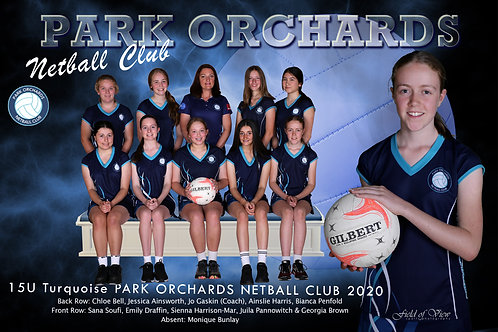Park Orchards Netball Team Photo With Individual Player Portrait