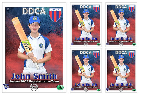 DDCA Cricket Player Portrait – 5 in 1 Pack