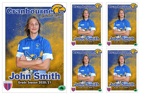 Cranbourne Cricket Player Portrait – 5 in 1 Pack