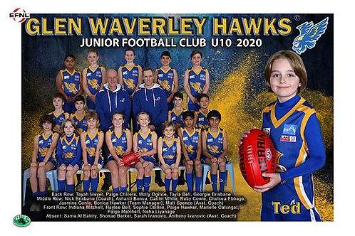 Glen Waverley Hawks Football Club Team Photo With Individual Player Portrait