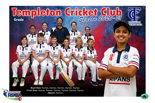 Templeton Cricket Team Photo With Individual Player Portrait