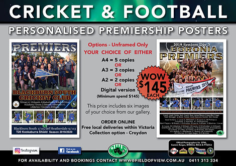 Cricket & Football Personalised               Premiership Posters