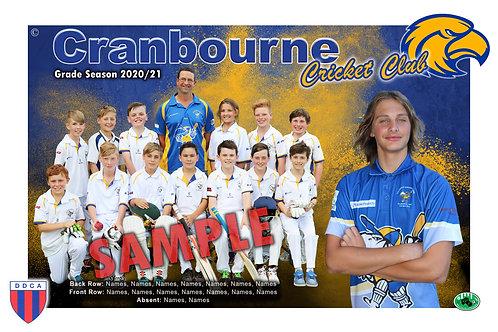 Cranbourne Cricket Team Photo With Individual Player Portrait