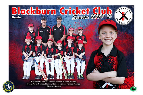 Blackburn Cricket Team Photo With Individual Player Portrait