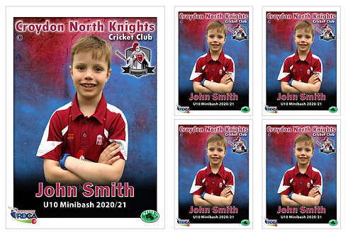 Croydon Nth Cricket Player Portrait – 5 in 1 Pack