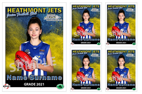 Heathmont Jets Football Club Player Portrait – 5 in 1 Pack