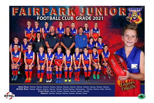 Fairpark Football Club Team Photo With Individual Player Portrait