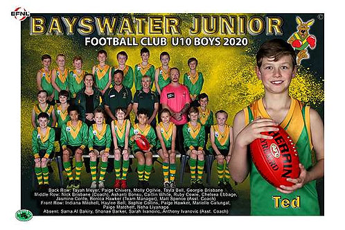 Bayswater Football Club Team Photo With Individual Player Portrait
