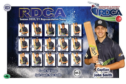 RDCA Cricket Team Photo With Individual Player Portrait